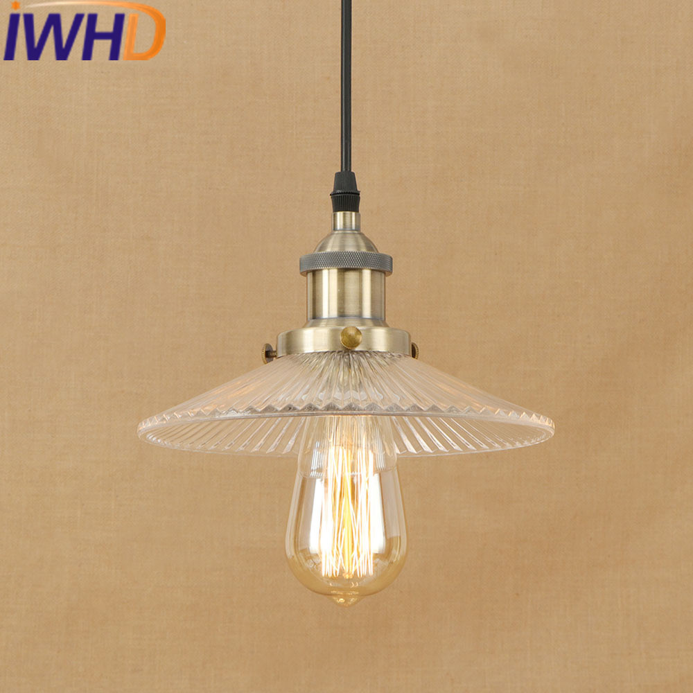 IWHD Iron Loft Style Vintage Lamp Industrial Pendant Lights LED Glass Kitchen Umbrella Suspension Luminaire Indoor Lighting iwhd gold iron style loft industrial vintage pendant lights retro birdcage hanging lamp kitchen dining room luminaire suspendu