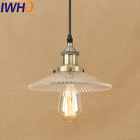 IWHD Iron Loft Style Vintage Lamp Industrial Pendant Lights LED Glass Kitchen Umbrella Suspension Luminaire Indoor Lighting