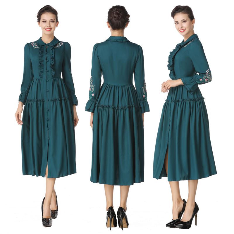 2018 Autumn New Fashion Women Slim Dress Full Sleeve Turn-down Collar High Retro Embroidered Waist Long Dresess ...