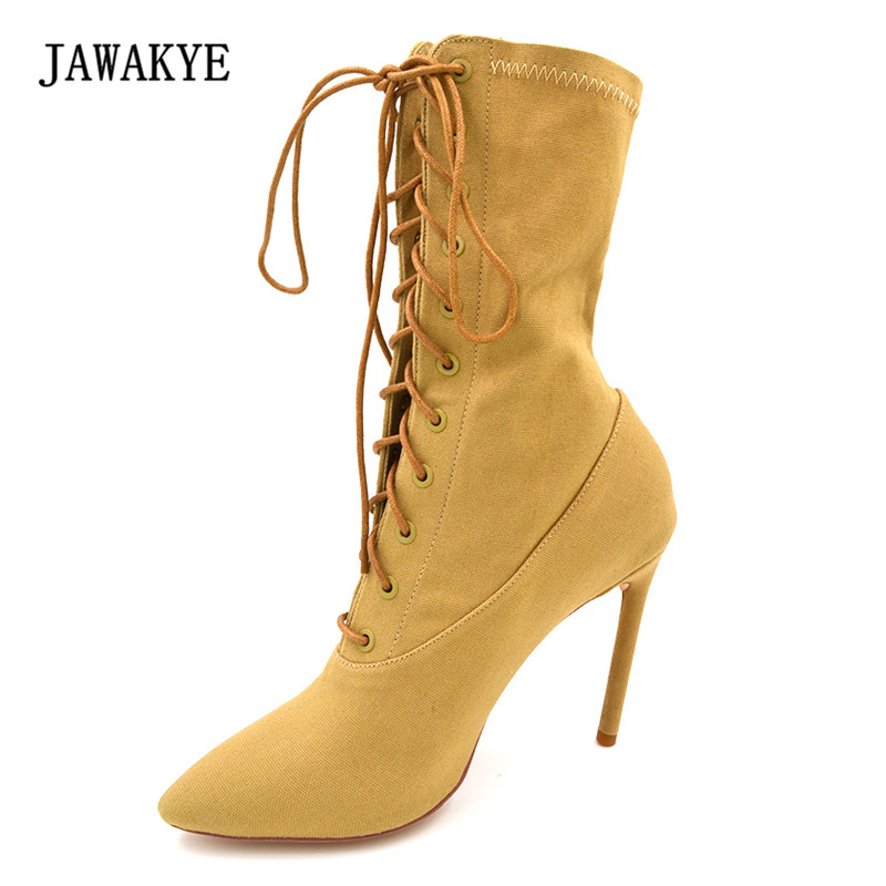 2017 Sexy Bandage Sock Boots Woman Pointed Toe Super High Heel Ankle Boots Women Fashion Runway Stretch Short Boots