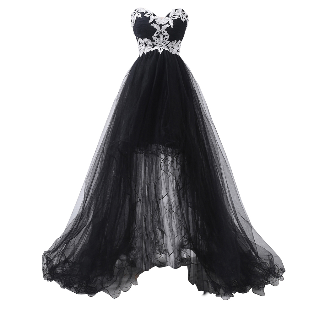 Elegant Strapless Appliques Corset Front Short Black High Low Lace ...
