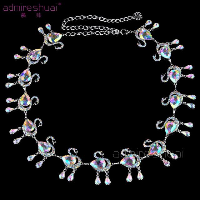 Belleza Cisne Danza Cinturones Para Mujeres AB Cadena de diamantes de Imitación de Color Femenino de la correa Del Todo-Fósforo Falda Borla Cummerbunds Ceinture Femme BL-835