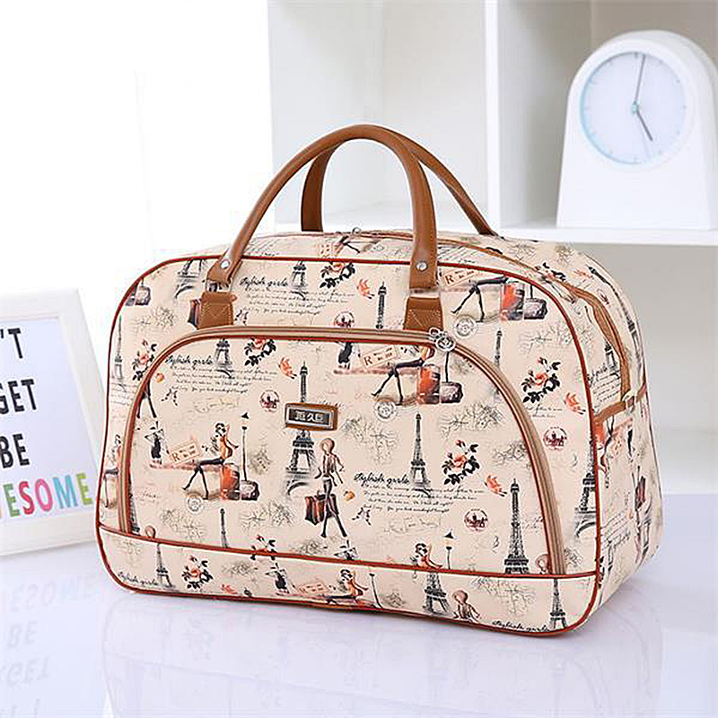 Women Travel Bags Pu Leather Handbag Large Capacity Waterproof Print Luggage Duffle Bag Casual Travel Bags Casual Bolsa Feminina