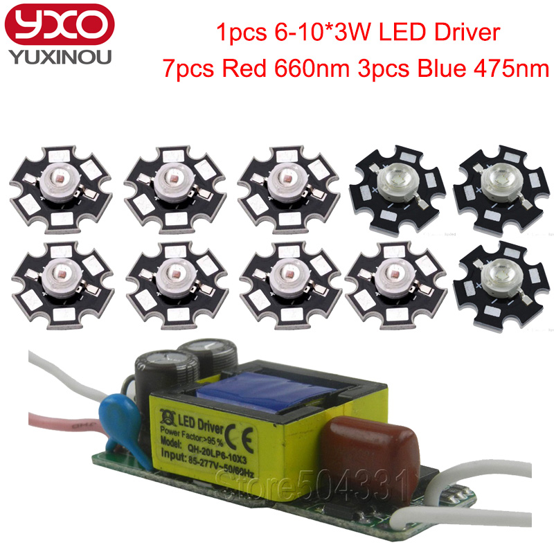 7pcs 3w deep red led 660nm 3pcs 3w blue 475nm+1pcs 6-10x3w 600mA led driver diy 30w led grow light for plants lamp цена