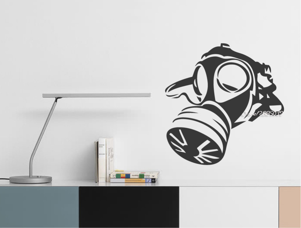 Military Gas Mask Wall Stickers Decor Boys Teens Room Wall Decal Army  Silhouette Illustration Wallpaper Creative 3d Poster SA684