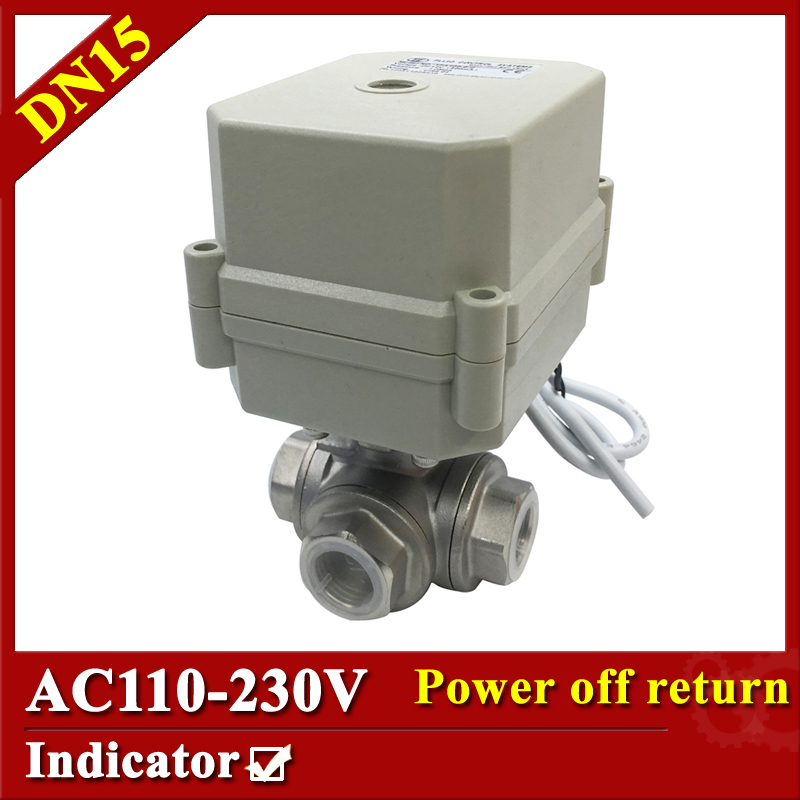 Tsai Fan Electric motorized valve 1/2 DN15 T port 3 way 2/5 wires electric valve AC110V to 230V BSP/NPT with spring return 1 2 ss304 electric ball valve 2 port 110v to 230v motorized valve 5 wires dn15 electric valve with position feedback