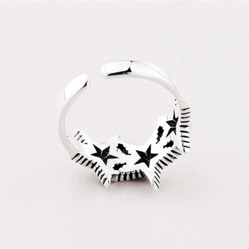 2019 модные Винтаж 925 пробы серебряная звезда кольца для Для женщин ювелирные изделия Регулируемая Размеры палец Обручение S925 античное кольцо