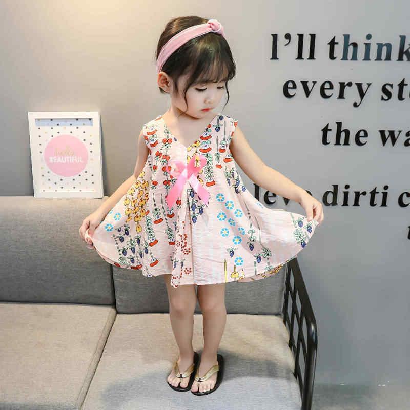 Sommer Baby Mädchen Kleid Baumwolle Ärmellose Kleider Nette Kinder Party Kleider für Kinder mädchen Kleine Prinzessin Kleid Druck Kleidung