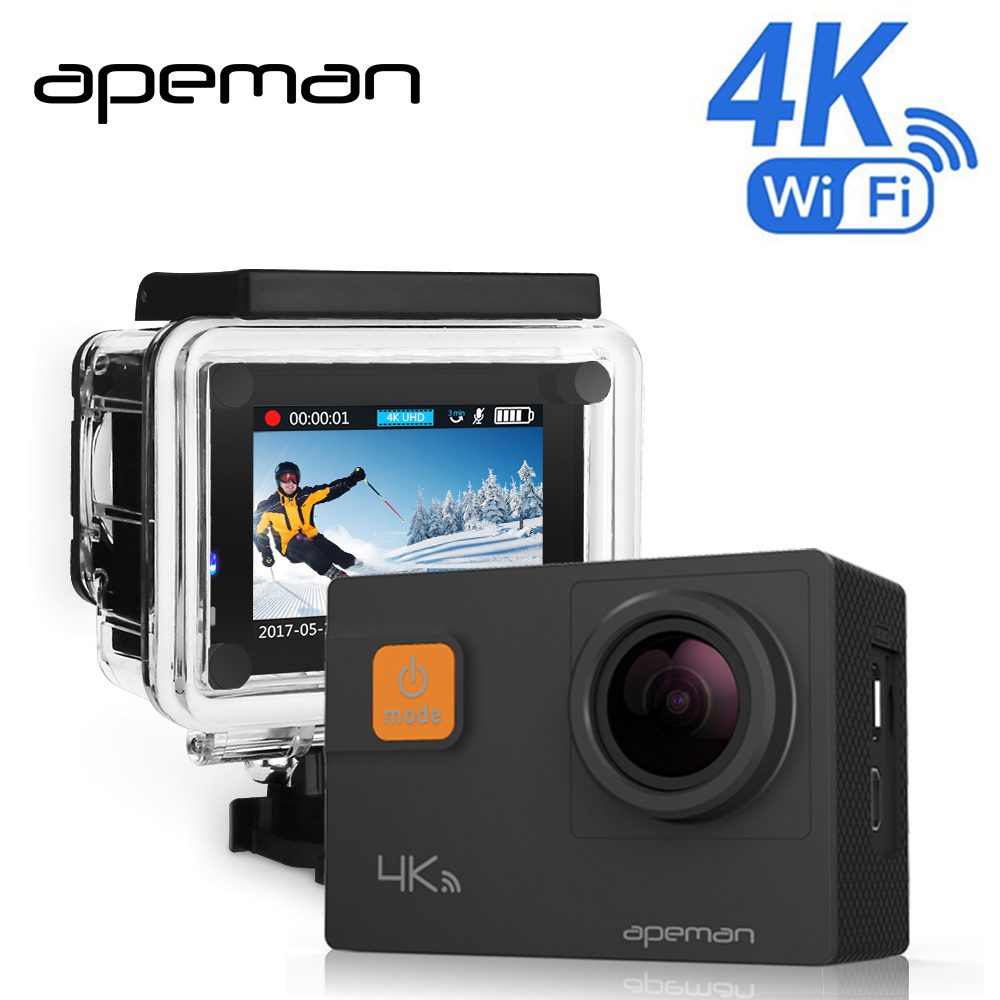Apeman 4k Action Camera A80 Pro Wifi Action Cam Full hd Underwater Waterproof Sport Video Camera With Novatek NTK96660 Camcorder 2017 arrival original eken action camera h9 h9r 4k sport camera with remote hd wifi 1080p 30fps go waterproof pro actoin cam