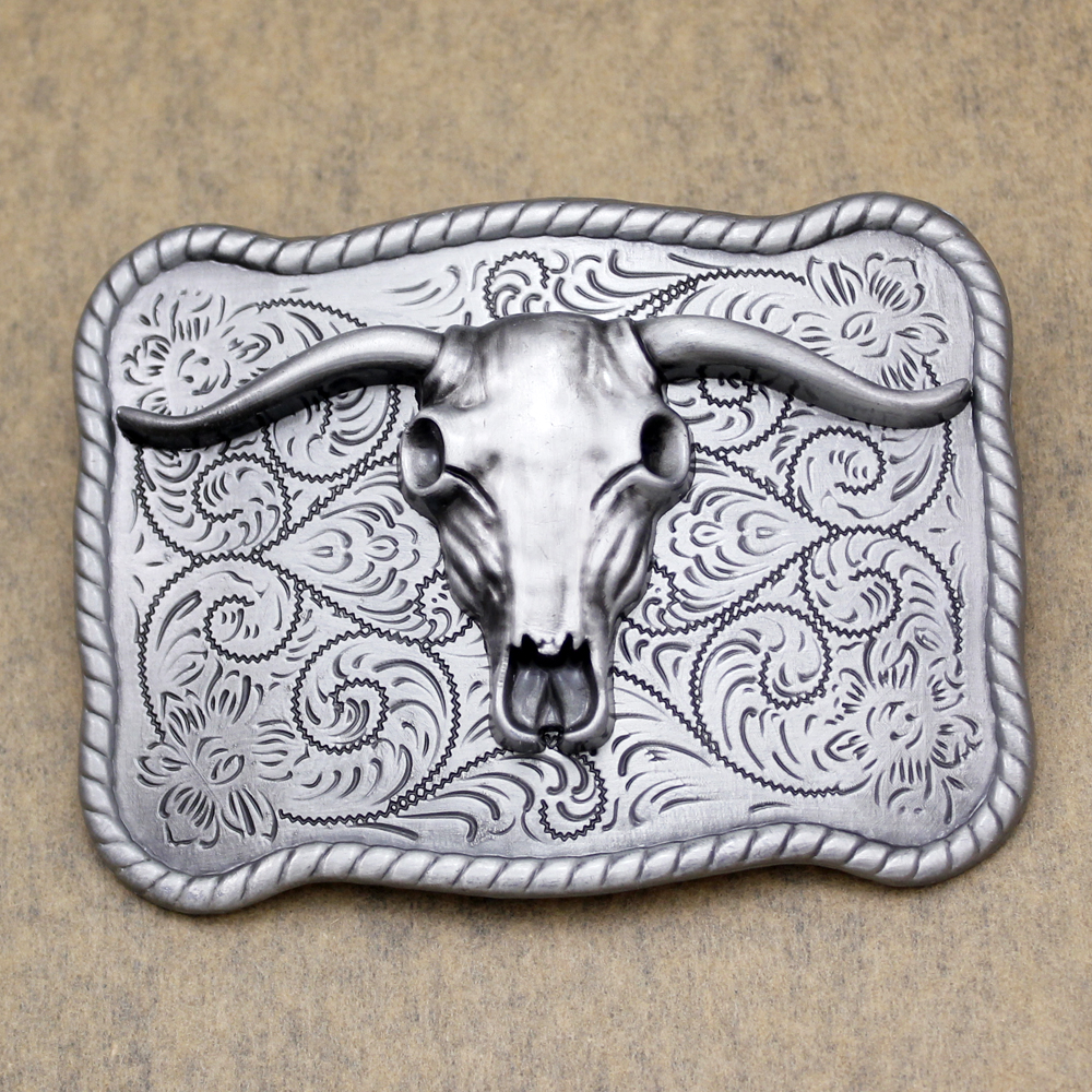 antique silver western silver bull ox horn buffalo skull indian totem zuni rodeo belt buckle