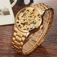 New Arrival Luxury Full Steel Golden Automatic Mechanical Watch Men Brand Silver Skeleton Analog Watches Men