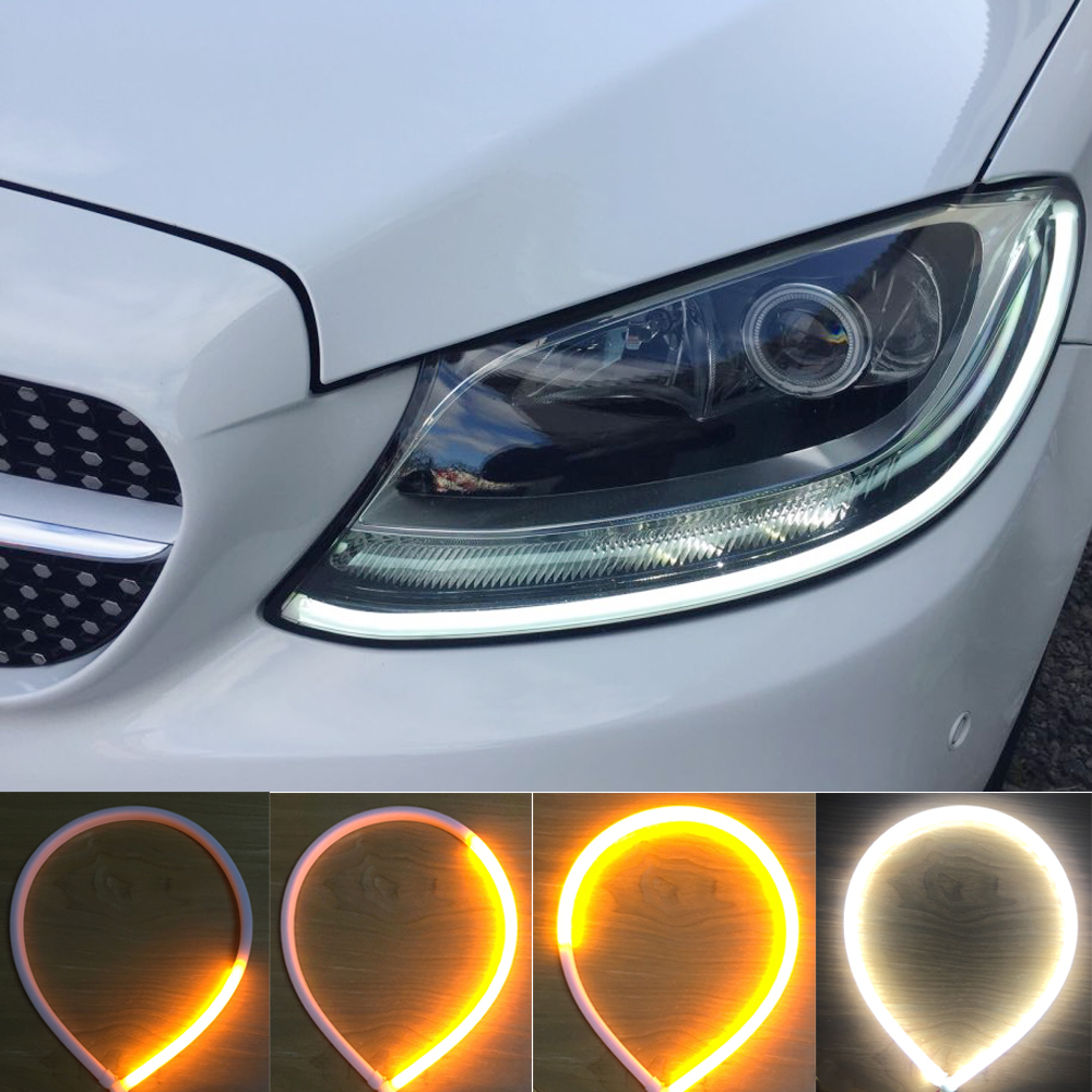 цена на 60cm Running Lights Flexible Turn Signal DRL Strip LED White Amber Flowing Bar Silicone Daytime Running Light Headlight Strip