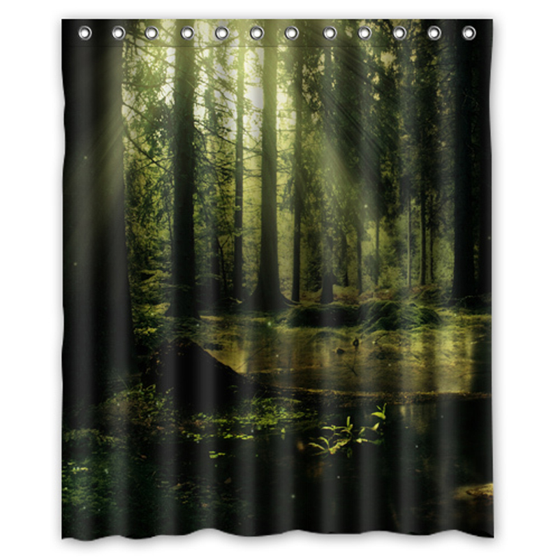 Cool Morning Forest Trees Custom Made Personalized Bath Waterproof Shower  Curtain Bathroom Curtains 48x72, 60x72