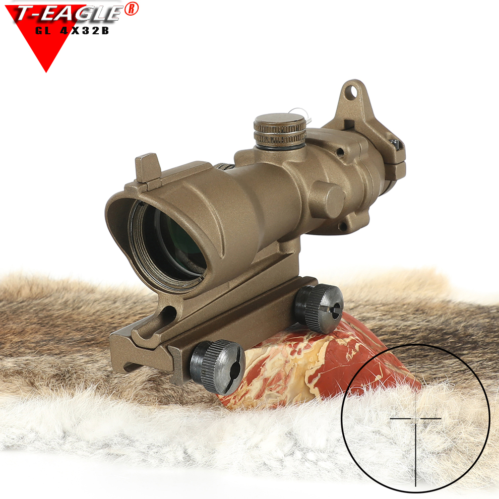 Trijicon T-eagle ACOG 4x32 Optical Rifle Scopes Spotting For Gun M416 Reticle With 11MM/20MM Mounts Riflescope Hunting Optics