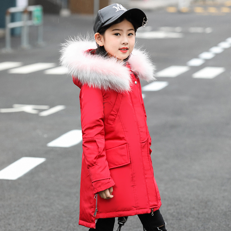 2018 Girls Down Coat Cold Winter Down Jackets for Girl clothes Raccoon parka real Fur Children Coats Warm Thick Kids Outerwear цена