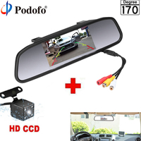 Podofo 4.3 Car Rearview Mirror Monitor Rear View Camera Video Auto Parking Assistance 4 LED Night Vision Reversing Car styling
