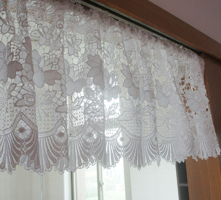 Water Soluble Lace Coffee Curtain Burnout Short Kitchen Curtain White Door  Curtain 140x33cm(China (