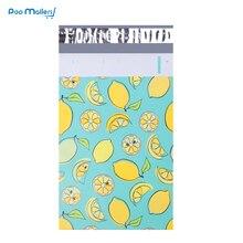 100 個 15 × 23 センチメートル 6 × 9 インチ lemon フルーツパターンポリメーラー自己シールプラスチック封筒バッグ