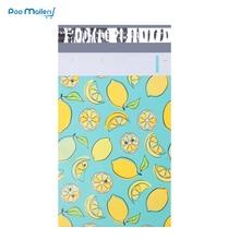 100 шт 15x23 см 6x9 дюймов лимонный фруктовый узор поли почтовые пакеты Самоуплотняющиеся пластиковые конверты