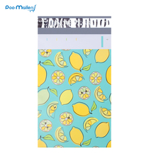 100pcs 15x23cm 6x9 인치 레몬 과일 패턴 폴 리 메일러 셀프 인감 플라스틱 봉투 가방