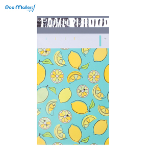 Image 1 - 100pcs 15x23cm 6x9 인치 레몬 과일 패턴 폴 리 메일러 셀프 인감 플라스틱 봉투 가방