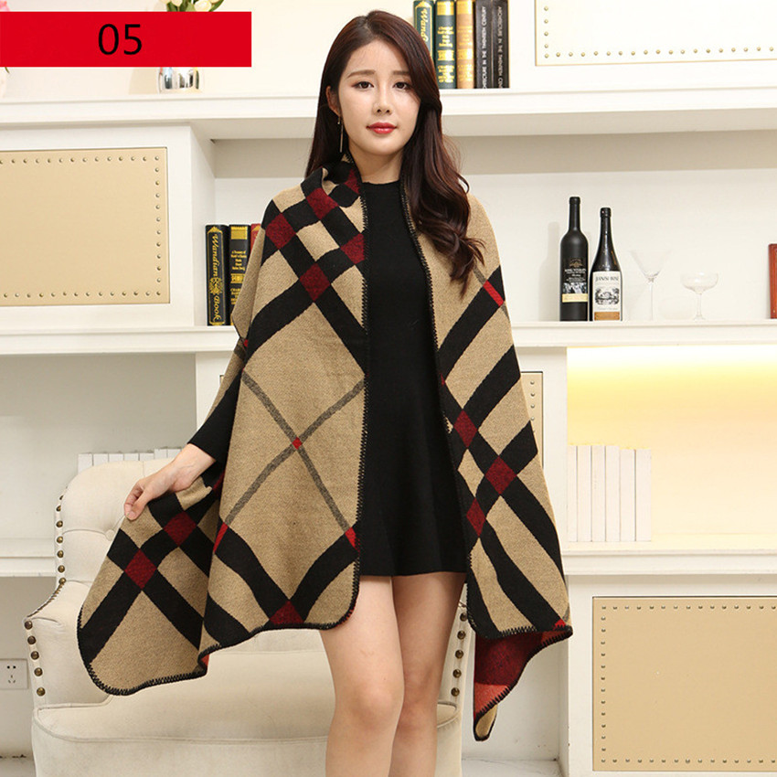 Shawl Scarf Women 2019 Autumn Winter Poncho Vintage Blanket Lady Knit Shawl Cape Cashmere Classic plaid style thick Warm Scarf
