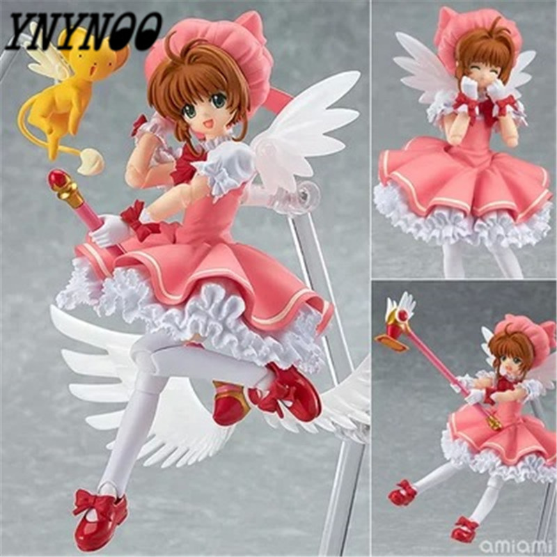 YNYNOO Figma Cardcaptor Sakura Kinomoto Sakura Doll 244 PVC Action Figure Japanese Anime Figures Model Toy 15cm K300 metal gear solid action figure sons of liberty figma 298 soldier pvc toy 16cm anime games figures snake collectible model doll
