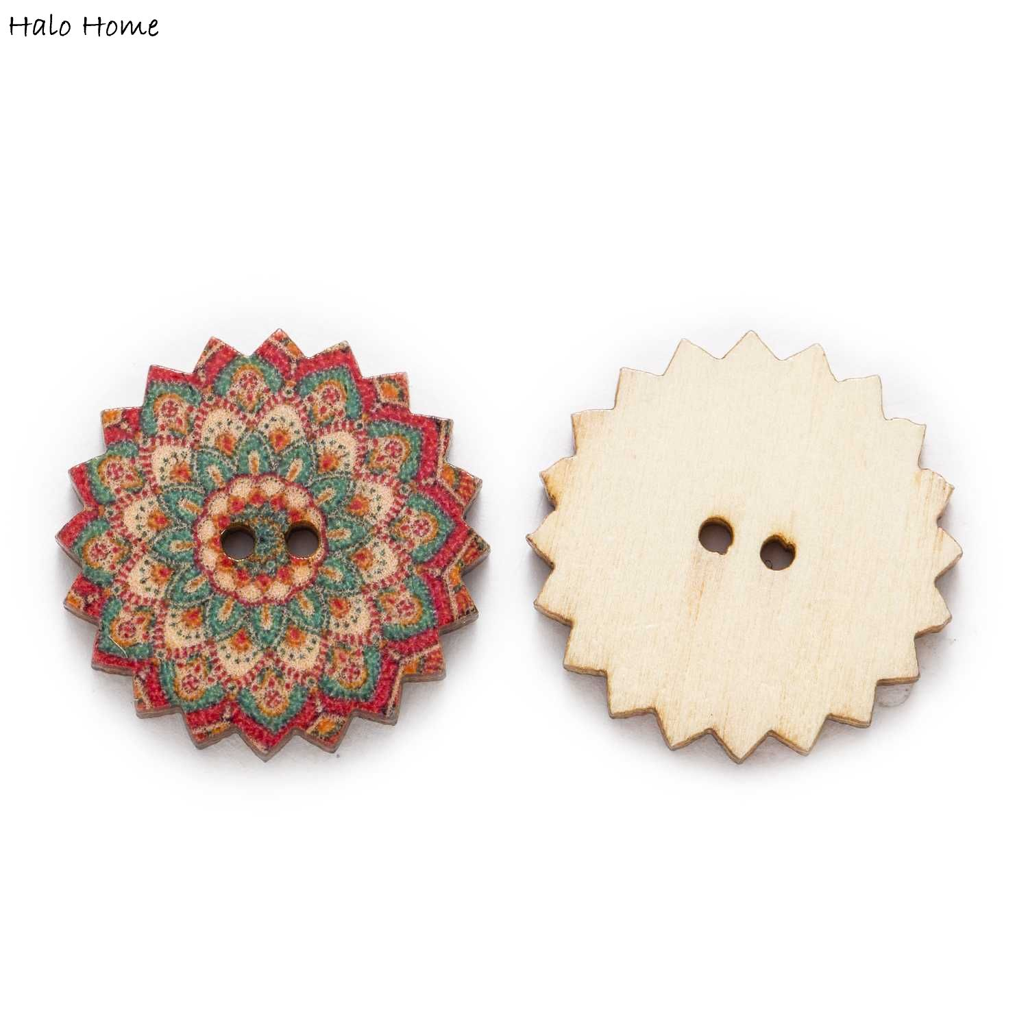 50pcs Painted Gear Wood Buttons for Handwork Sewing Scrapbook Clothing Crafts Accessories Gift Card 20-25mm