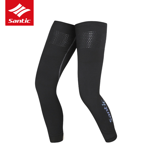 Santic 1 Pair Cycling Leg Warmers Outdoor Sports Autumn Winter Warm Leg Sleeve Knee Warmers Anti-UV Running Gambali Ciclismo