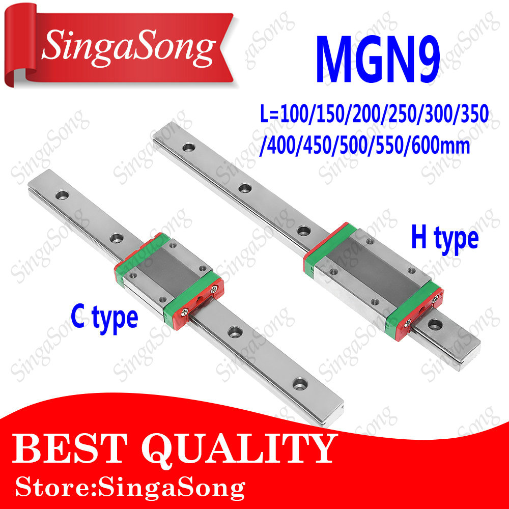 NEW 9mm Linear Guide MGN9 100 150 200 250 300 350 400 450 500 550 600 mm linear rail + MGN9H or MGN9C block 3d printer CNC