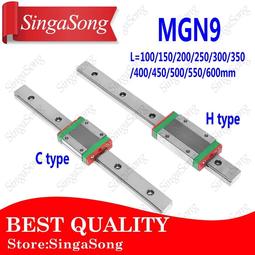 Nueva 9mm guía lineal MGN9 100 150 200 250 300 350 400 450 500 550 600mm carril Linear + MGN9H o MGN9C bloque 3d impresora CNC