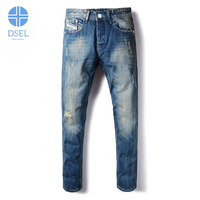 Italian Style Fashion Mens Jeans Blue Color Slim Fit Buttons Pants Ripped Jeans For Men Dsel
