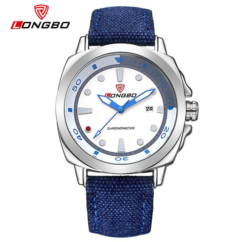LONGBO Men's Sport Quartz Wristwatch Nylon Male blue Watch Outdoor Mountaineering Watches Waterproof Fashion Masculino Esportivo