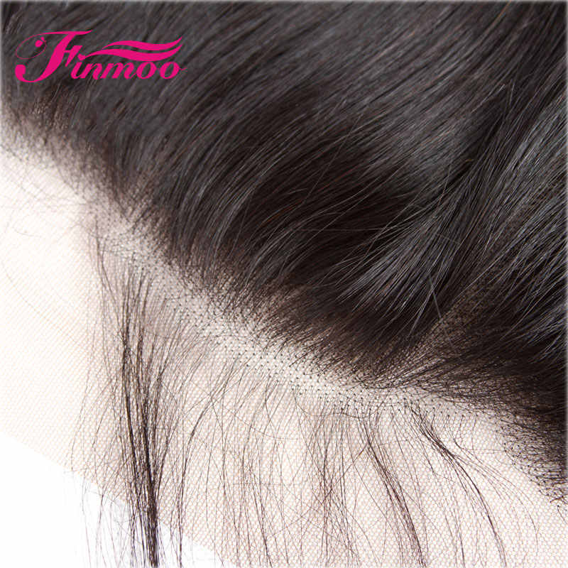 Finmoo 13*4 шелковая основа прямые Кружева Фронтальная застежка перуанские прямые волосы натуральный цвет свободный Средний три части отбеленные узлы