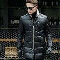 ARGY Brand Winter Fashion Male Down Coats Sheepskin Men Genuine Leather Jacket Fur Collar Winter Warm Mens Leather Jackets 0015