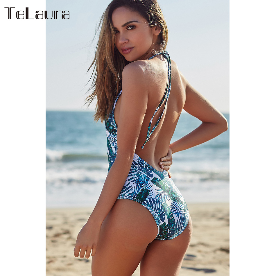 2019 New Sexy One Piece Swimsuit, Women's Swimwear, Push Up Monokini Print Swim Suit, Backless Bathing Suit 15