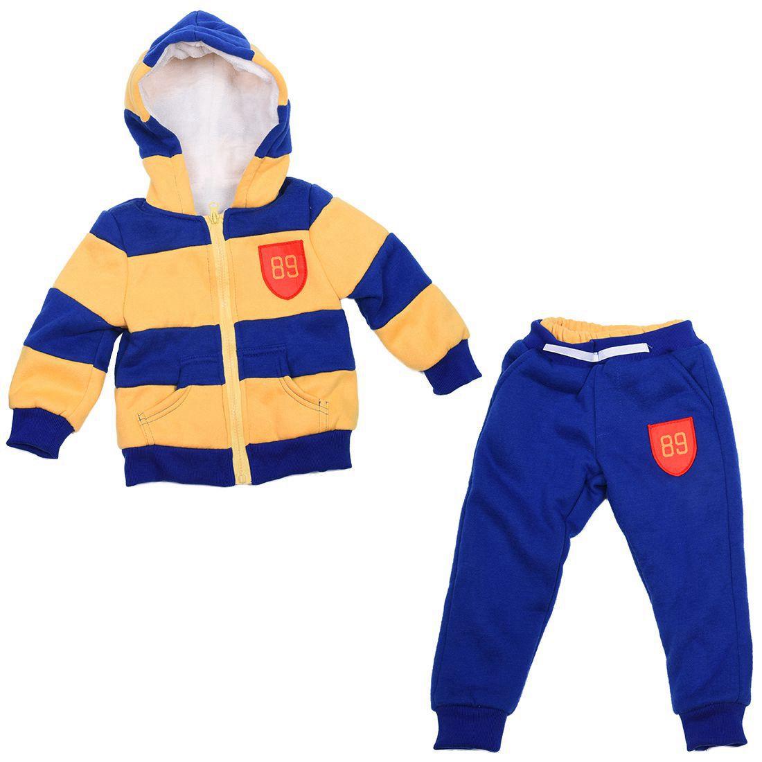 Baby Sports Suit Jacket Sweater Coat & Pants Thicken Kids Clothes Set Boys Girls Children Winter Wool