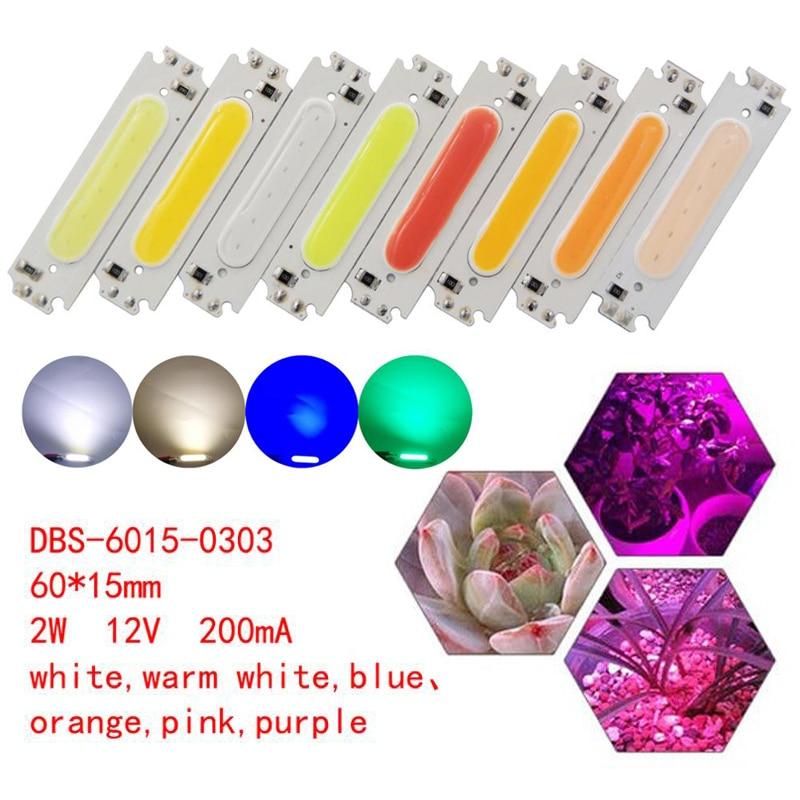 1 Pc 60x15 Mm 2 W Cob Puce Lumière Led Lampe 12 V Led Ampoule Pour Voiture éclairage Cob Conseil Rouge/orange/blanc Chaud/vert/bleu/rose/blanc Froid