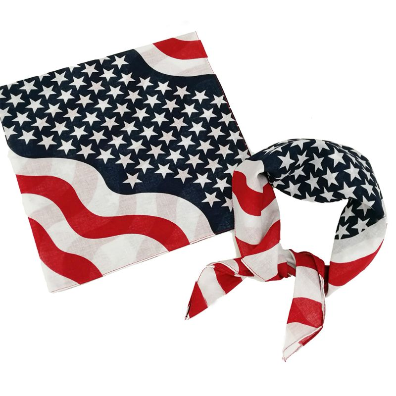 50x50CM Unisex Cotton Sport Pocket Square   Scarf   American Flag Stripes Star Print Headband Bandana Hip-Hop Wristband Hair   Wrap