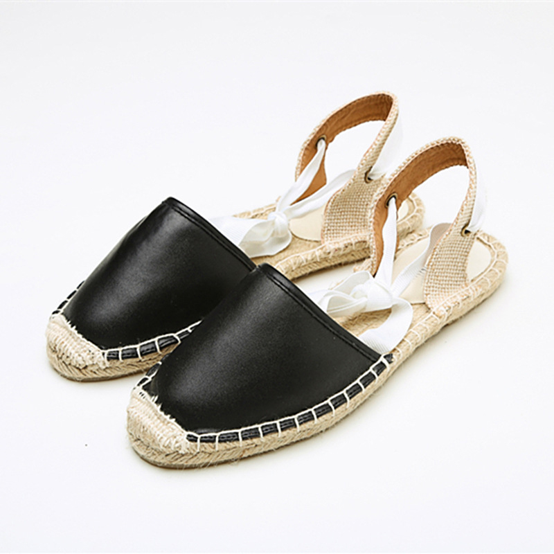 Summer Canvas Women Espadrilles Ankle Strap Platform Sandals Solid color Lace up Women Flat Sandals stylish women s solid color pleated culotte