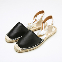 Summer Canvas Women Espadrilles Ankle Strap Platform Sandals Solid color Lace up Flat