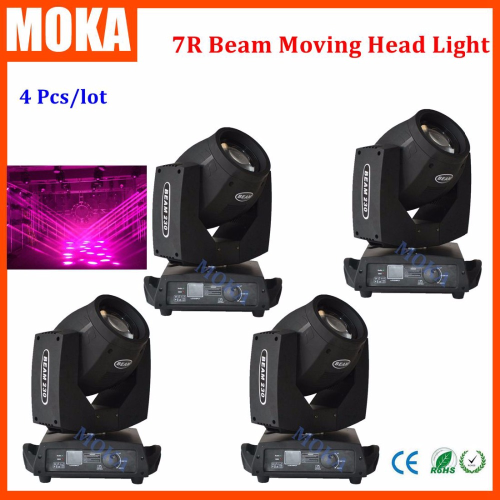 4pcs/lot beam 7R lamp moving head 230w sharpy 7r 230w light Sharpy light Osram DMX 16/20 channels for nightclub parties show