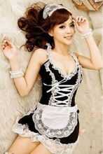 Hot Sale Fashion Sexy Lingerie Seduction of uniform Black White French Apron Maid Servant Lolita Costume Dress