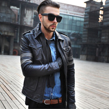 VANLED pockets jacket mens 100% genuine leather Jackets winter thick warm coat motor