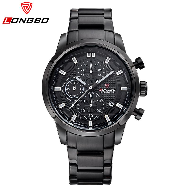 Prix pour Montre marque longbo de luxe montres hommes militaire acier lumineux analogique à quartz étanche montres montre sport deporte 80181