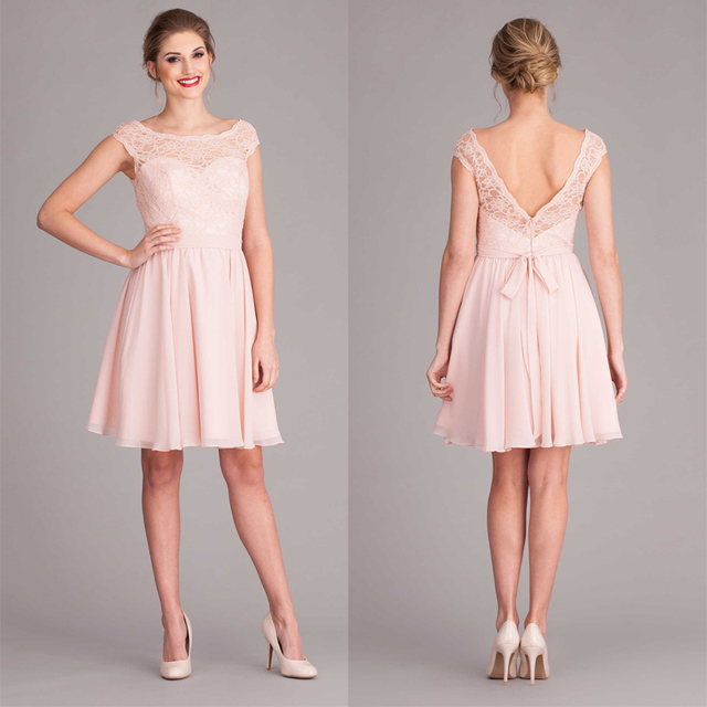 Pink V back cap sleeve short lace bridesmaid dress with sashes