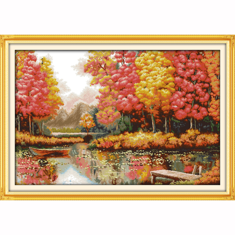 Golden time Autumn landscape Counted Printed on canvas DMC 11CT 14CT Cross Stitch kit,needlework Sets DIY embroidery large paint-in Package from Home & Garden    1