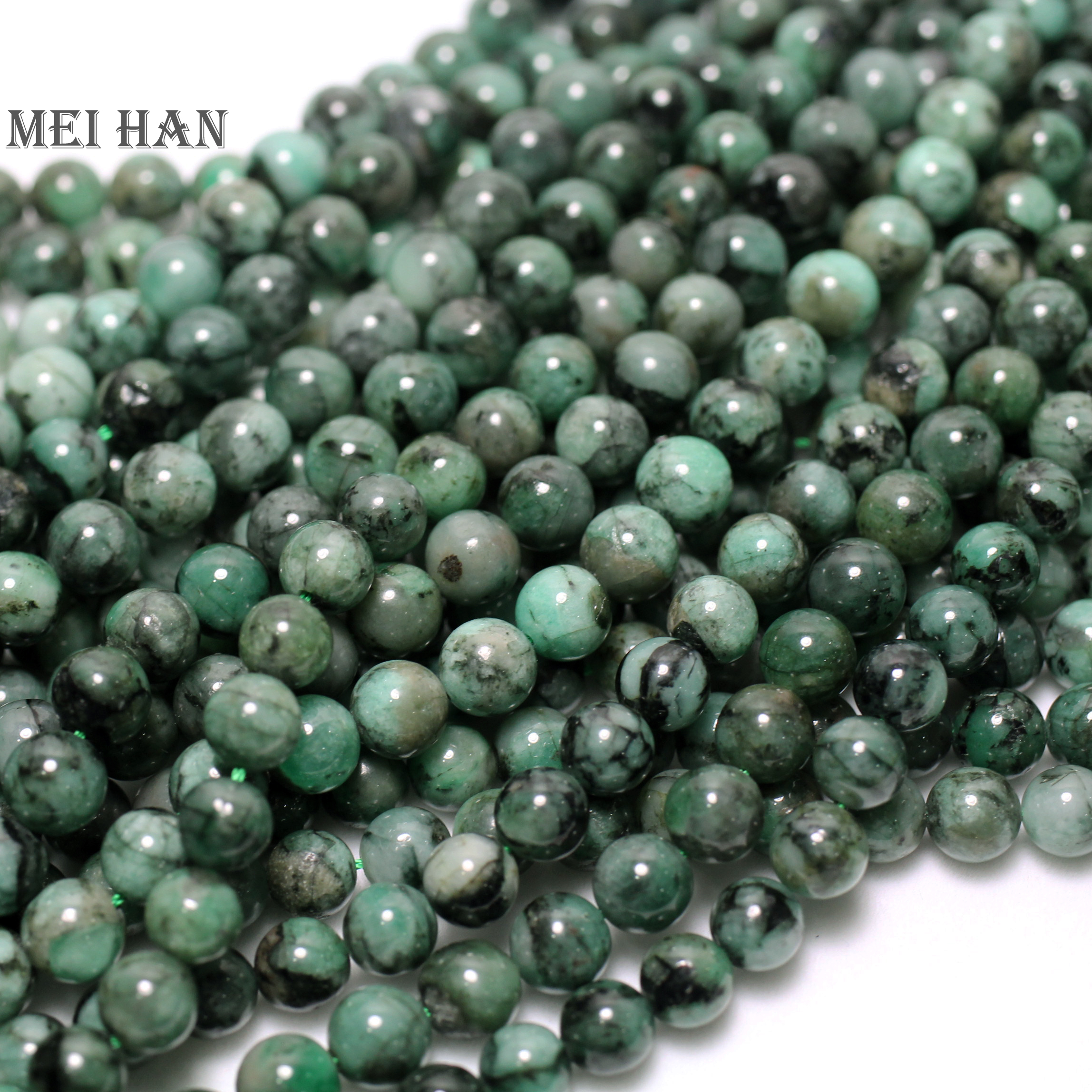 Meihan Free shipping approx 44beads set 34g natural 8 8 5mm Emerald smooth round beads for