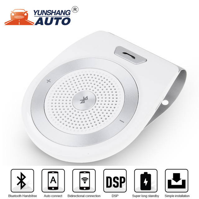 Handsfree Bluetooth Car Kit For iPhone Speakerphone Noise Cancelling Multipoint Wireless Clip On Sun Visor Portable Car Audio