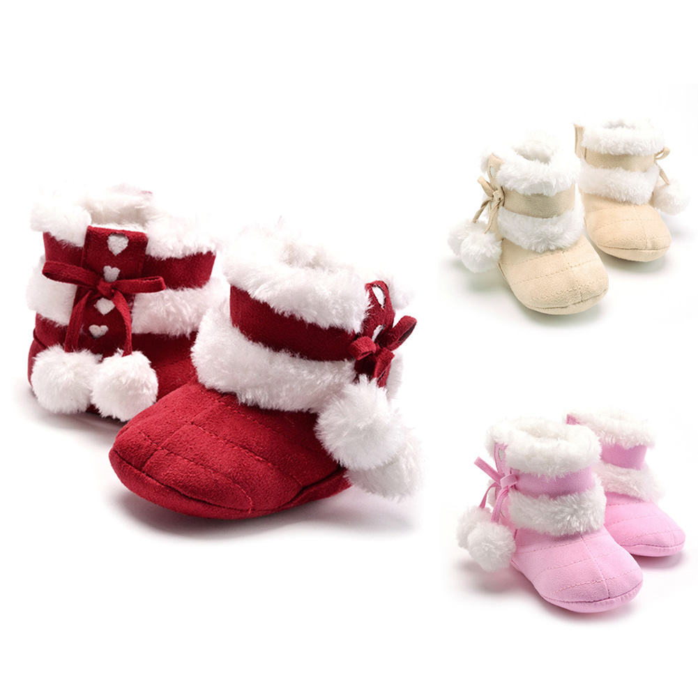 Winter Baby Girls Snow Boots Newborn Soft Sole First Walker Infant Toddler Solid Bowknot Non Slip Shoes Baby Prewalkers 0-18M